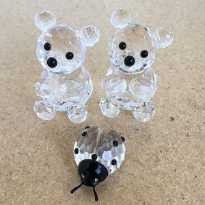 Swarovski Crystal Teddy Bear Ladybug Figurines